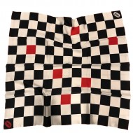 Black, White and Red checker silk scarf - Gwisk