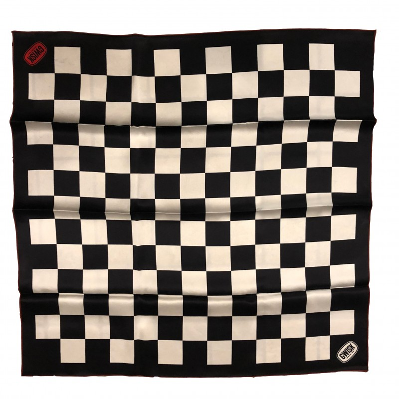 Black and White checker silk scarf - Gwisk